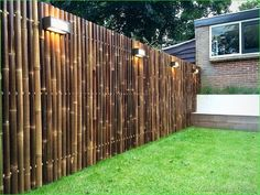 Best Bamboo Fencing For Garden and Outdoor Design: Outdoor Design And Bamboo Fence Panels For Bamboo Fencing With Garden Lighting Also Lawn And Box Planters With Brick Exterior Siding Plus Window Treatment And Diy Bamboo Fence Bamboo Privacy Fence, Bamboo Garden Fences, Backyard Fences, Backyard Landscaping, Bamboo Garden Ideas, Backyard Privacy, Privacy Fences, Bamboo Screening, Fence Screening