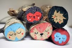 painted logs... so cute!