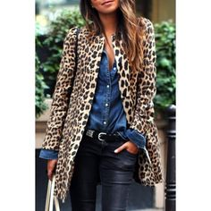 Leopard Print Long Sleeves Sexy Coat ($28) ❤ liked on Polyvore featuring outerwear, coats, leopard coat, long sleeve coat, leopard print coat and sexy coats