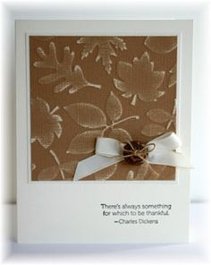 By Becky. Dry embossed Core'dinations paper, then sanded it. Cut to size, matted. Ribbon & button added. Looks great!