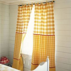 Color Blocked Yellow Gingham Curtains   Very Fresh!