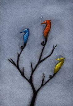 Watercolor Tattoo, Watercolor Paintings, Sea Dragon, Goldfish, Sea Creatures, Illustrators, Seahorses, Graphic Design, My Favorite Things