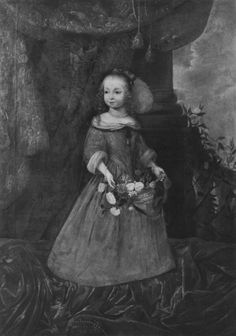 Portraits of Archduchess Eleanor Maria Josepha of Austria, future Queen of Poland from the Dachau Castle: (1) as a child with a basket of flowers, ca. 1657, (2) as a teenager with a parrot, ca. 1665, Bavarian State Painting Collections. #17thcenturyortrait #archduchess #queenofpoland #artinpl #dachau #1660sfashion #parrot Flower Basket, Austria, Poland, Parrot, Castle, Portraits, Child, Collections, Queen