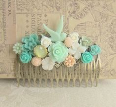 Shabby Chic Hair Comb Mint Green Turquoise Peach Pink Spring Wedding Head Piece Bridal Hair Comb Bridesmaids Hair Accessories by Jewelsalem,