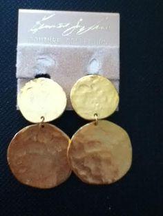 Vintage Kenneth Jay Lane disc clip on earrings