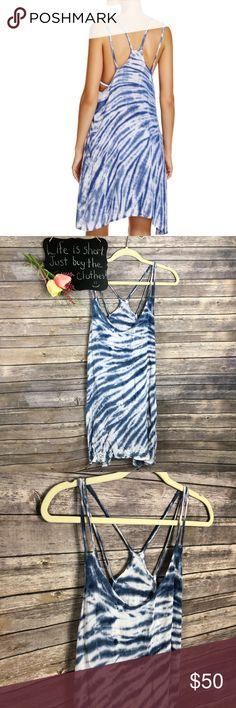 "Lucky Brand Swim Fireworks tie dye cover up dress Lucky Brand Swim Fireworks blue and white tie dye cover up dress. Very pretty!! NWT Size S.  18"" arm pit to arm pit.  34/36"" length. Lucky Brand Swim Coverups"