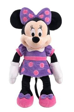 Disney Classic Minnie Medium Plush Purple Dress with Pink Polka Dots and Bow >>> You can get more details by clicking on the image.