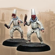 The Pulcinellas are the most chaotic and destructive asset of the Guild. It includes two models made of pewter that need to be built and painted, along with their corresponding bases. Beat Em Up, Dark Souls, Cops, Destruction, Cyberpunk, Pewter, Miniatures, Models, Art