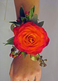 orange flower corsage