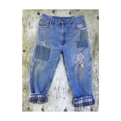 "Vintage distressed and patched Boyfriend Jeans waist 36"" Inseam 27"""