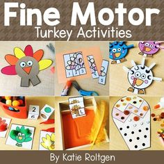 These Turkey-Themed Fine Motor Activities are perfect for Thanksgiving or Autumn themed lessons in the PreK, Kindergarten or homeschool classrooms. This pack includes ten activities that are perfect for small groups, morning tubs, centers, stations, or early or fast finishers. Preschoolers & Kinders will learn cutting, pokey pin page, count & link, lacing, tweezing, clipping with clothespins, gluing, letter formation practice, playdough mat & line tracing. {Seasonal, Holiday, Fall, November}