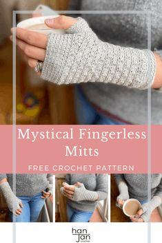 Crochet Fingerless Gloves Free Pattern, Crochet Mitts, Fingerless Gloves Knitted, Crochet Stitch, Free Crochet, Crochet Hooks, Crochet Top, Crochet Hand Warmers, Crochet Patterns