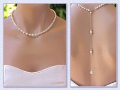 Rose Gold Crystal Necklace, Pearl Bridal Necklace, Silver Wedding Necklace or Rose Gold Wedding Necklace, TAYLOR P Bridal Backdrop Necklace, Bridal Necklace, Wedding Jewelry, Silver Necklaces, Crystal Necklace, Silver Jewelry, Gold Jewellery, Gold Backdrop, Back Necklace