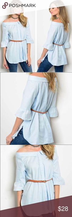 Last one!! Bella Boatneck Top with belt Size L New with tags  Offers are welcome! No trade  Thank you very much! Tops Blouses