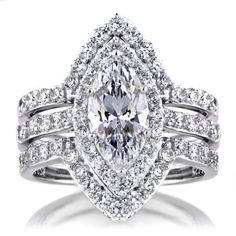 Marquise engagement, wedding and eternity rings