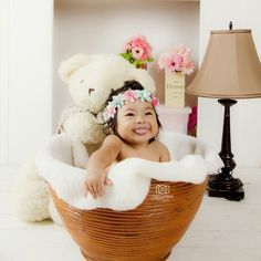 6 month baby Daliani with her cute bear.