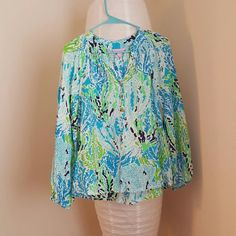 Spa blue let's cha cha Long sleeve Lilly Pulitzer Tops Blouses