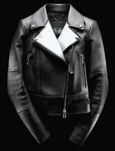 Belstaff, Burgess Black and Ecru Double Face Leather Moto Jacket. Oh, my, god.