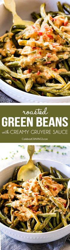 Forget green bean casserole, these wonderfully flavorful, crisp tender Roasted Green Beans with Creamy Gruyere Sauce are AMAZING!!!  They the best green beans you will ever eat!   They are easy enough for every day but delicious enough for special occasions (like Thanksgiving, Christmas!)!   #greenbeancasserole #thanksgivingrecipe