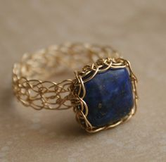 Lapis Lazuli 14k gold wire crocheted ring