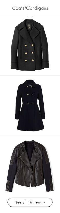 """Coats/Cardigans"" by shelbyj-i ❤ liked on Polyvore featuring outerwear, coats, jackets, balmain, black, balmain coat, pea coat, pea jacket, peacoat coat and navy"