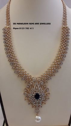 Sri Maha laxmi Gems And Jewels. Diamond Necklace Set, Diamond Pendant, Diamond Jewelry, Gold Jewelry, Gold Necklace, Beaded Jewelry Designs, Gold Jewellery Design, Necklace Designs, Wedding Jewelry Sets