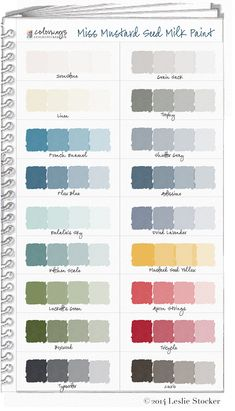 Miss Mustard Seed Milk Paint Color Swatch Book is a digital representation of my own hand painted color samples. Each color was mixed with varying amounts of water. The most opaque color (l. Paint Color Swatches, Chalk Paint Colors, Colour Schemes, Color Combos, Crate Furniture, Milk Paint Furniture, Painting Furniture, Furniture Design, Miss Mustard Seeds