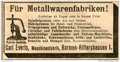 Original-Werbung/ Anzeige 1905 - MASCHINENFABRIK EVERTS / BARMEN - RITTERSHAUSEN - ca. 100 x 45 mm