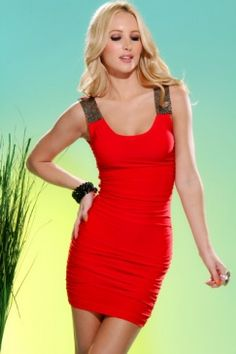 RED METAL MESH STRAP SLEEVELESS SCOOP NECK RUCHED DRESS $27.99
