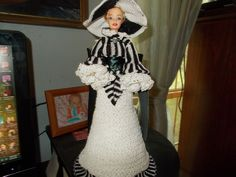 """Crocheted Bed Doll(Black and White)11 1/2"""" tall,(gone with the wind collection) #Handmade"""