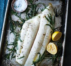 Tarragon Roasted Halibut with Hazelnut Brown Butter Recipe: Bon Appétit Halibut Recipes, Fish Recipes, Seafood Recipes, Cooking Recipes, Epicurious Recipes, Recipes Dinner, Crockpot Recipes, Cooking Tips, Fish Dishes