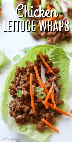 Chicken Lettuce Wraps are so addictive! Tender ground chicken with a peanut soy sauce wrapped in lettuce is the perfect quick meal you're going to make on a regular basis! #centslessmeals #easyrecipe #asianrecipe #simplesauce #bestrecipe #easyappetizer #sidedish   via @centslessdeals