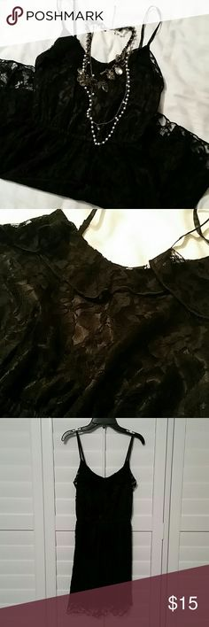 Divided Black Lace Dress Super cute H&M Divided black lace dress, size 4, and is in excellent condition. Looks stunning with heels or flats and add some of your favorite accessories! Dress is above knee length with slightly stretchy waist. Divided Dresses