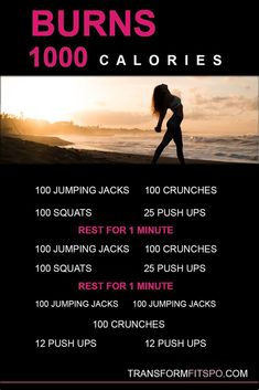 Do this routine to burn 1000 calories in one shot! Yes you can burn off that night out easily with this short and powerful routine. Eat what you like and burn off the calories! Full body extreme workout that will show results! Fitness Workouts, At Home Workouts, 1000 Calorie Workout, 1000 Calorie Burn, 1000 Calorie Diets, Build Muscle Mass, Extreme Workouts, Lose Weight, Weight Loss