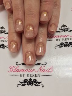 Nude gel polish and rose gold glitter