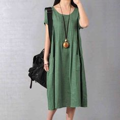 Women Cotton Linen Loose Fitting Dress in Green-Size - Buykud Linen Dresses, Cotton Dresses, Plus Size Dresses, Plus Size Outfits, Maxi Dresses, Casual Dresses, Wide Leg Linen Pants, 49er, Trendy Plus Size Clothing
