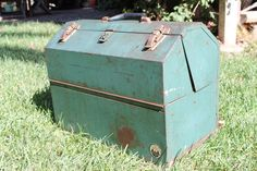 "Teal green 1960s Waterloo ""hip-roof"" locking tool box with two swing-out trays and two swing-out interior boxes. $50.00, via Etsy."