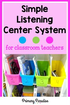 Listening to reading ideas to make your listening centers more organized and engaging for students! Guided Reading Organization, Guided Reading Activities, Teacher Organization, Teacher Hacks, Teaching Reading, Kindergarten Centers, Teaching Kindergarten, Teaching Ideas, Listening Centers