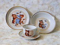 Soviet children's breakfast set with teddies bees by SovietDreams, $32.00