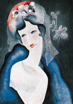 Girl in Flowery Hat, mixed media on paper // painting by Bela Kádár (Hungarian, 1877-1956)