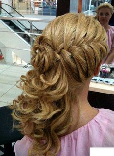 Braided half up side curls