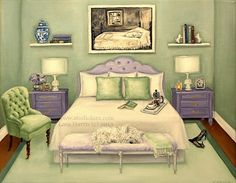 Life Imitating Art (after Wyeth) #Westie . . . . .11x14 Fine Art Giclee #Print by LARA #Dog Puppy #Andrew #Wyeth #Master #Bedroom #ginger #jar #chanel #tufted #headboard #chair #pillows #vintage #camera #black #heels #old #books
