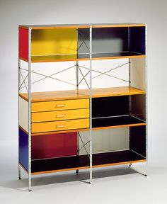 Designed by Charles and Ray Eames. Miller Furniture Company. ESU (Eames storage unit) c. 1949. Zinc-plated steel, birch-faced and plastic-co...