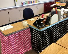 No sew Table skirts, staple to table edge, trim with ribbon...making my classroom pretty