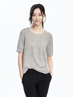 Linen Pocket Crew Tee -- Banana Republic