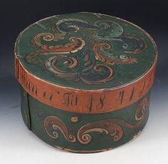 Rosemalt ask med drikkevers og dat. 1841. D: 39 cm., skade. Prisantydning: ( 1500 - 2000) Solgt for: 1800