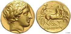 Macedonia, Philippos II., 359-336 BC, gold stater, approximate 340-328 BC, belorb. Apollokopf clockwise, reverse Biga clockwise, beneath brisure T, 8.58 Gr., very fine / extremley fine.    Dealer  HBA    Auction  Minimum Bid:  1200.00 EUR