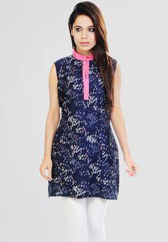 Sleeve Less Printed Blue Kurti - Mksp - KURTIS & KURTAS - WOMEN