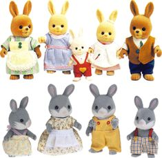 The difference between Maple Town (above) and Sylvanian Families / Calico Critters (below). Maple Town toys look more cartoonish.