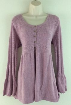 NWT J JILL Lavender Purple Knit Long Bell Sleeve Cotton Angora Tunic Top L Large #JJill #KnitTop #Casual